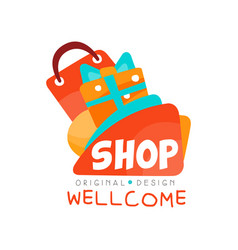 welcome to shop logo original design template vector image