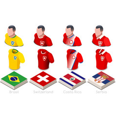 World cup group e jersey set vector