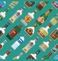 alcohol drinks cocktail bottle seamless pattern vector image