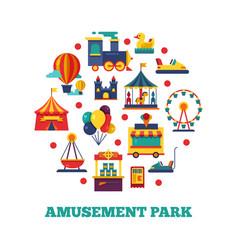 amusement park icons round concept vector image