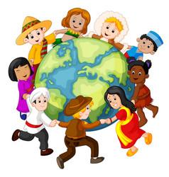 children holding hands around the world vector image