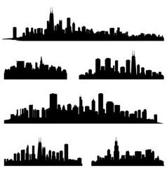 city silhouette set panorama background skyline vector image