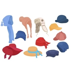 Different kind of cartoon hats set collection vector image