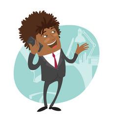 Funny black business man vector