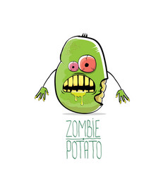 funny cartoon cute green zombie potato vector image