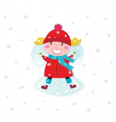 girl and snow angel vector image vector image