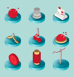 sewing flat isometric icons vector image vector image