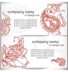 business card designs with paisley ornament vector image vector image