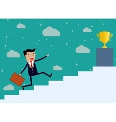 Businessman run Up Stairs vector image vector image