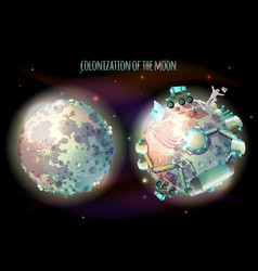 colonization of moon concept vector image