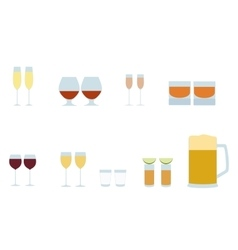 different alcohol glasses icons vector image vector image