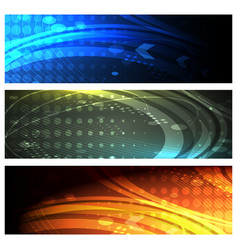 futuristic space banner set vector image vector image