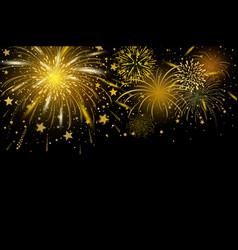 gold fireworks on black background vector image vector image
