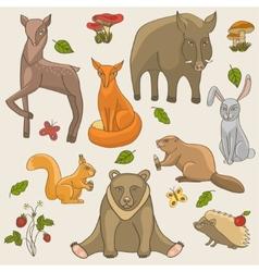 Hand drawing animals set vector