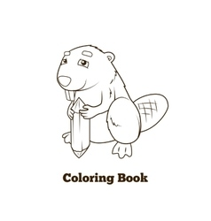 Forest animal beaver cartoon coloring book vector image vector image