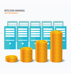 bitcoin mining concept cryptocurrency farm vector image