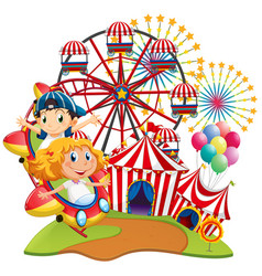 circus scene with kids on the ride vector image vector image