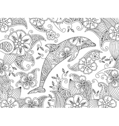Coloring page with one jumping dolphin on floral vector