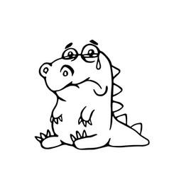 cute sad dragon cute sad dragon vector image vector image