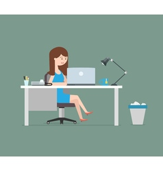 Happy woman working with laptop Business in flat vector image vector image