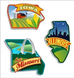 Retro of Illinois Missouri Iowa vector image