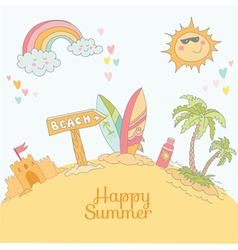 Summer Beach Card - with place for your text vector image