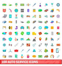 100 auto service icons set cartoon style vector image