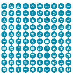 100 voyage icons sapphirine violet vector