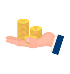 A stack of coins on his hand e-commerce single vector