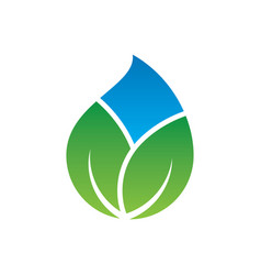 abstract leaf waterdrop eco logo vector image