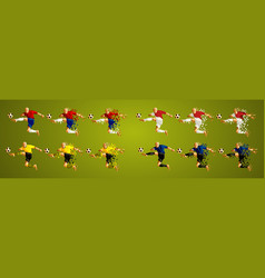 abstract soccer players group a line up wearing vector image