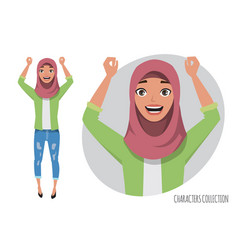 Arab women character is happy and smiling muslim vector