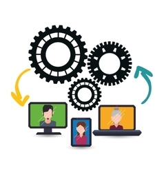 Avatars gadgets teamwork support design vector