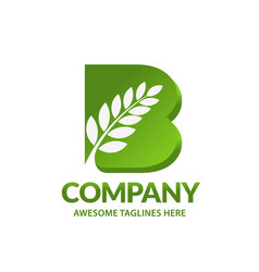 b letter wheat organic vector image