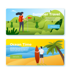 banners - girl hiking man with surfboard vector image