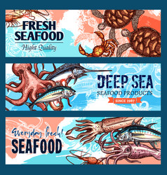 banners seafood market or fish restaurant vector image