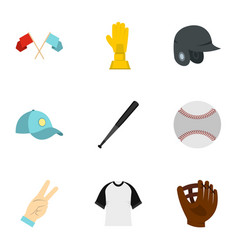 baseball equipment icons set flat style vector image