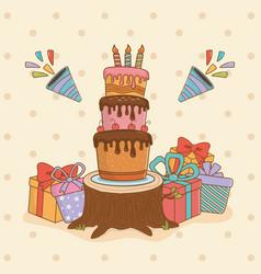 birthday card set icons vector image