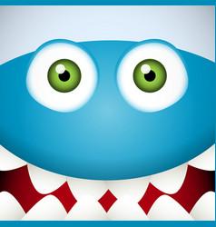 Blue Monster face vector