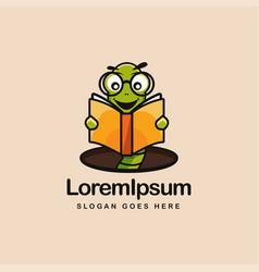 bookworm logo mascot worm reading a book logo vector image
