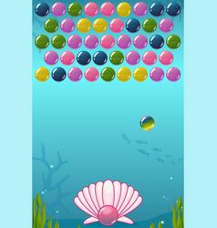 Bubble shooter under the sea game vector