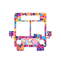 Bus sign stained glass icon vector
