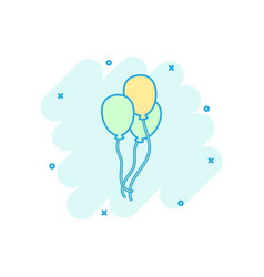 cartoon air balloon icon in comic style birthday vector image