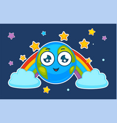 cartoon earth planet smiling in rainbow vector image