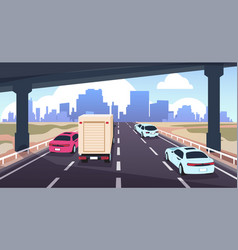 cartoon highway traffic road to city with cars vector image