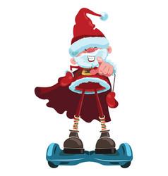 cartoon santa claus is riding a gyroscooter vector image