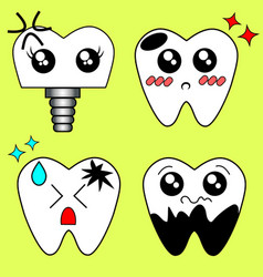 Cartoon sick tooth decay and destroy tooth vector