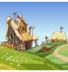 cartoon village houses vector image