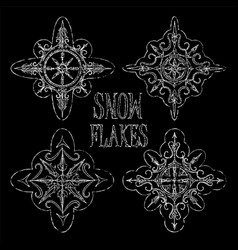 chalk snowflakes on black background for winter vector image