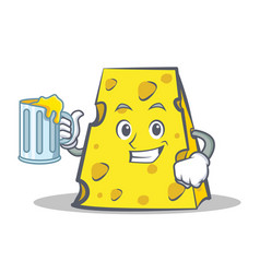 Cheese character cartoon style with juice vector